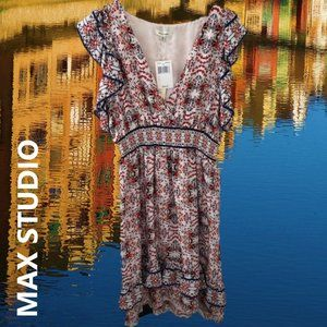 NWT MAX STUDIO Printed Ruffle Dress